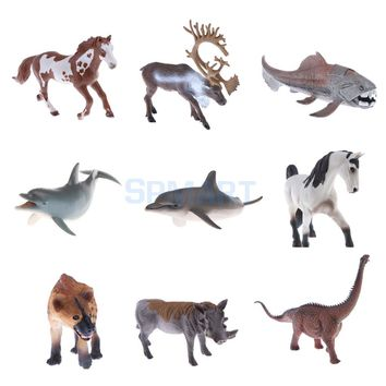 Realistic Simulation Plastic Animal Model Figure Reindeer Fish Dolphin Horse Hyena Dragon Model Figurine Kids Pretend Play Toys