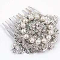 Rina - Bridal Wedding Hair Comb, Accessories, Swarovski Cream Pearl, Rhinestones, Crystal, Tiffany Inspired Hair Comb