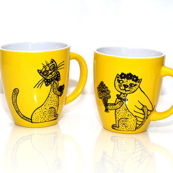 Cat lover gift from Artbyasta Cats coffee mug set of 2 for crazy cat lady Funny cute cat mug gift one of a kind Coffee cup Girlfriend gift
