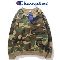 Champion Autumn and winter new fashion bust embroidery logo thick solid color camouflage couple long sleeve top sweater Gray