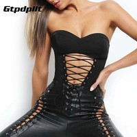 Gtpdpllt Lace Up Strapless Bodysuit Women Sexy Off Shoulder Hollow Out Backless Women Rompers Black Sleeveless Bodysuit Jumpsuit