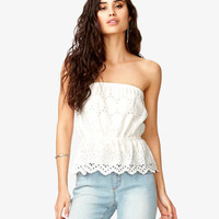 Scalloped Eyelet Tube Top