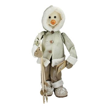 """21.5"""" White and Brown Skiing Snowman Christmas Figure Decoration"""