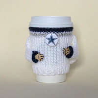 Dallas Cowboys coffee cozy. NFL Texas. White silver blue. Knit cup sleeve. Cowboys fan travel mug cozy Office coffee Starbucks cup holder