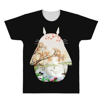 Totoro With Japanese Landscape All Over Men's T-shirt