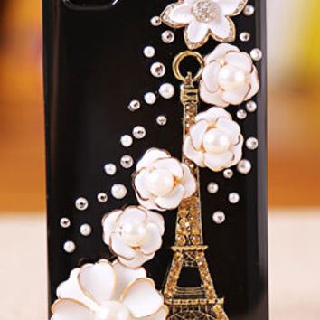 Tower iphone 4 case,flower iphone 4s case,crystal iphone 5 case,samsung galaxy s3 case,samsung galaxy s4 cover handmade