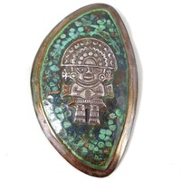 Vintage Sterling Silver Copper Verdigris Inca Warrior Pin Pendant