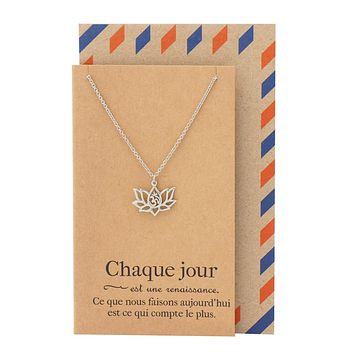 Edith Yoga Jewelry, Lotus Flower Om Necklace with French Yoga Quotes