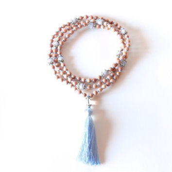 Throat Chakra - 108 Hand-Knotted Rosewood Beads, Blue Lace Agate, Clear Quartz, and Silk Tassel