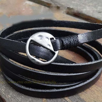 Black soft leather men's and women's leather bracelet with silver alloy buckles leather bracelet with unisex bracelet
