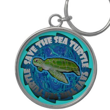 Save The Sea Turtle Keychain from Zazzle.com
