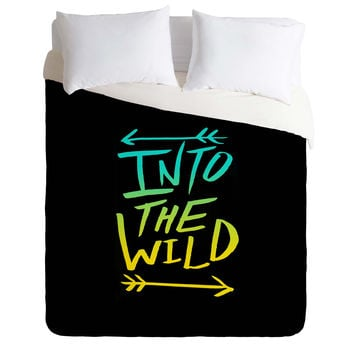 Leah Flores Into The Wild Teal And Gold Duvet Cover