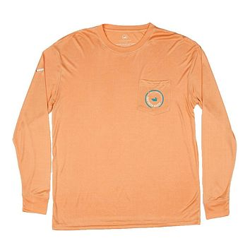 FieldTec Pocket Tee - Long Sleeve in Melon Orange by Southern Marsh