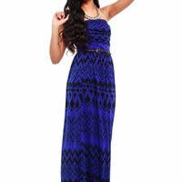 Royal Blue & Black Tribal Maxi Dress
