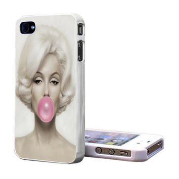 Marilyn Monroe With Pink Bubble Gum iPhone S4 , iPhone 5 , iPhone 4 , Galaxy S3 , Galaxy S4 Case - Fast Shipping from USA