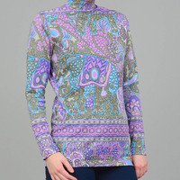 60s Psychedelic Print Top Pucci Style Stretchy Fitted Knit Shirt Vintage 1960s Mod Mock Turtleneck Top Purple Blue Green Small Medium S M