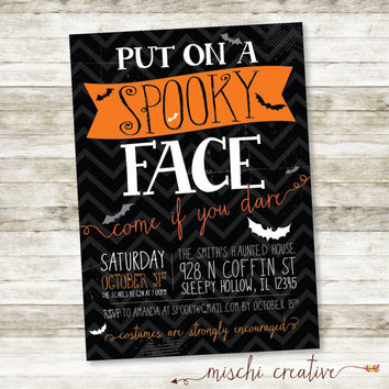 "Put on A Spooky Face Halloween Party DIY Digital Printable Invitation. 5"" x 7"""