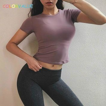 Colorvalue Slim Fit Fitness Gym Crop Top Women Anti-sweat Nylon Workout Sport Tee Quick Dry O-Neck Athletic Short-Sleeved Shirts