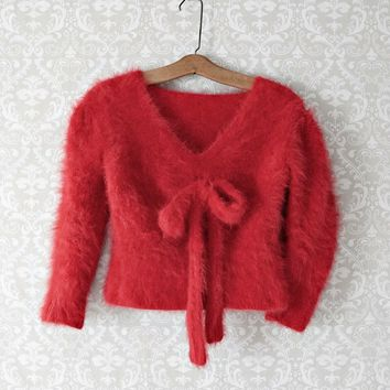 Vintage 1980s Lipstick Red + Angora Pinup Sweater