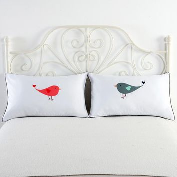 New Design Set of 2 Couples Pillow Cases Letters Printed Pillowcases Bedding Wedding Anniversary Romantic Gift housse de coussin