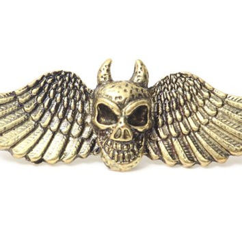Winged Devil Skull Double Ring Adjustable Knuckle RE25 Gold Tone Gothic Steampunk Demon Fashion Jewelry
