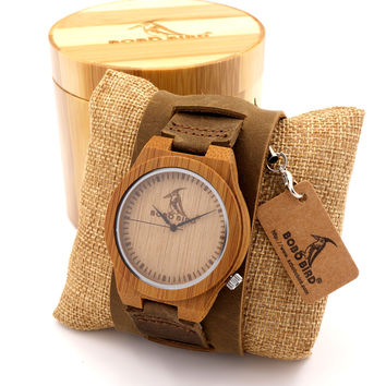 Bobobird Z010 Luxury Brand Design Bamboo Wood  Watches Chicago Genuine Leather Bracelets Bands Straps Mens Watches Top Brand