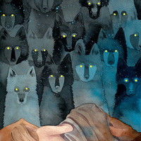 "In the Company of Wolves 9x12"" art print"