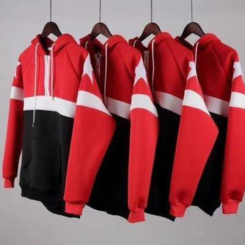 DCCKLM3 Givenchy new five-star red and black spell space cotton air layer hooded sweater couple sweater