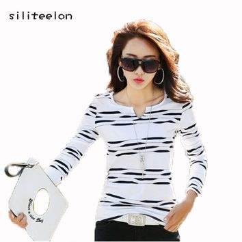 2018 Spring Striped Woman Cotton t shirt Female Slim New Fashion Long Sleeve t-shirt O-Neck Tee Shirt Casual White Tops Femme