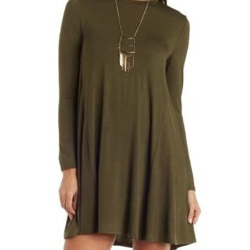 Olive Long Sleeve Trapeze T-Shirt Dress by Charlotte Russe