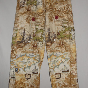 Vintage 80s Pirate Print Nautical Ships Map Print Pants All Over Print Unique Lounge Pajama Pants