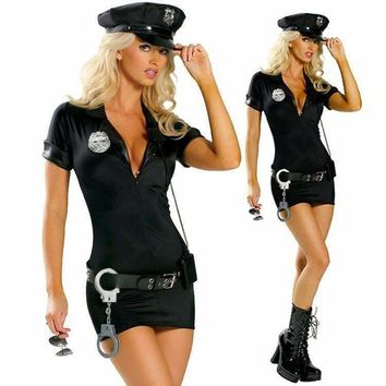 Sexy Policewomen Halloween Cosplay Dress Outfit