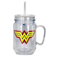 WONDER WOMAN CLEAR MASON JAR WITH LID