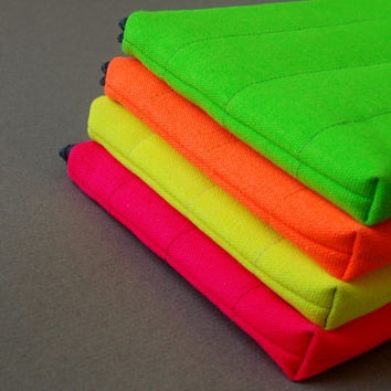 13inch Laptop Case, for  MacBook, and other laptop models, Padded/Canvas, Neon.