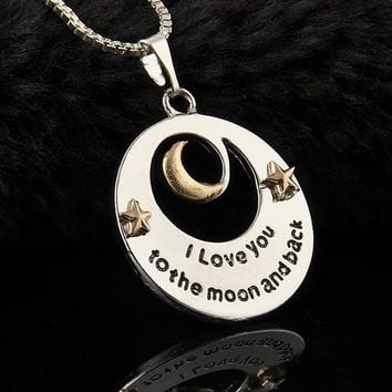 "Trendy Alloy  Moon and Star Pendant Necklace Mother's Day Gifts ""I love you to the Moon and back""  Letters Chain Necklaces"