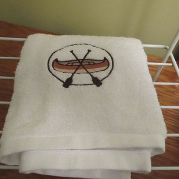 Embroidered White Terrycloth Hand Towel with Canoe