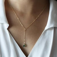 Simple Chain Y Lariat Necklace with Birthstone Crystal - October's Birthstone: Tourmaline /Y necklace /Birthstone jewelry Gifts for her