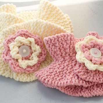 CIJ 25 % off, Mother  Daughter Scarf, Matching Set, Hand Knit Flower Ruffle Neck Warmers, Pink , Christmas in July