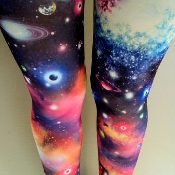 Galaxy Leggings Women's Leggings Stretch Leggings Nebula Leggings Solar System Spandex Tights Yoga Fitness Workout Pants Gift Ideas