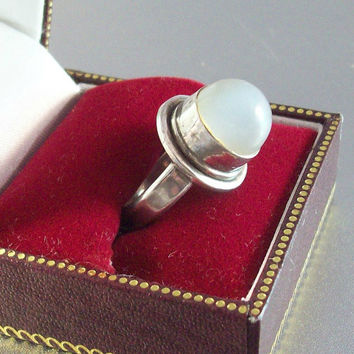 Vintage Sterling Moonstone Cocktail Ring, Cabochon Sits High