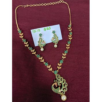 Peacock pendant CZ stone choker necklace and earring set - one gram gold polished