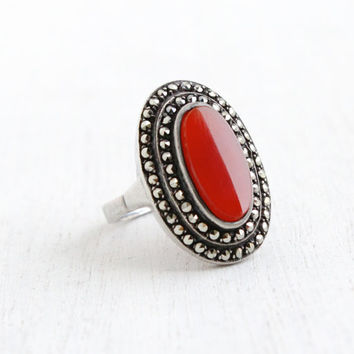 Vintage Sterling Silver & Marcasite Carnelian Red Ring- Size 7 Antique 1930s Hallmarked Germany Jewelry