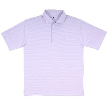 Longshank Striped Performance Polo in Ice Blue & Pink by Country Club Prep