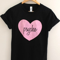 Pink Psycho Heart Black Graphic Unisex Tee
