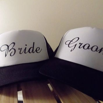 Pair of Bride & Groom Trucker Hats. Great for the Honeymoon. Choose your colors and fonts.
