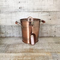 Ice Bucket Mid Century Modern Ice Bucket with Scoop Copper Ice Bucket Vintage Barware Copper Ice Cooler Bar Cart Copper Cocktails