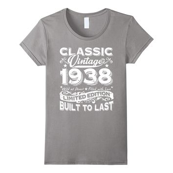 Vintage 1938 80 Years Old - Funny 80th Birthday Gift T-Shirt