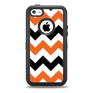 The Orange & Black Chevron Pattern Apple iPhone 5c Otterbox Defender Case Skin Set