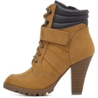 Lace-up Chunky Heel Work Booties by Charlotte Russe - Camel