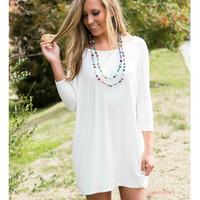 Heaven's Bliss Ivory Quarter Sleeve Solid Dress